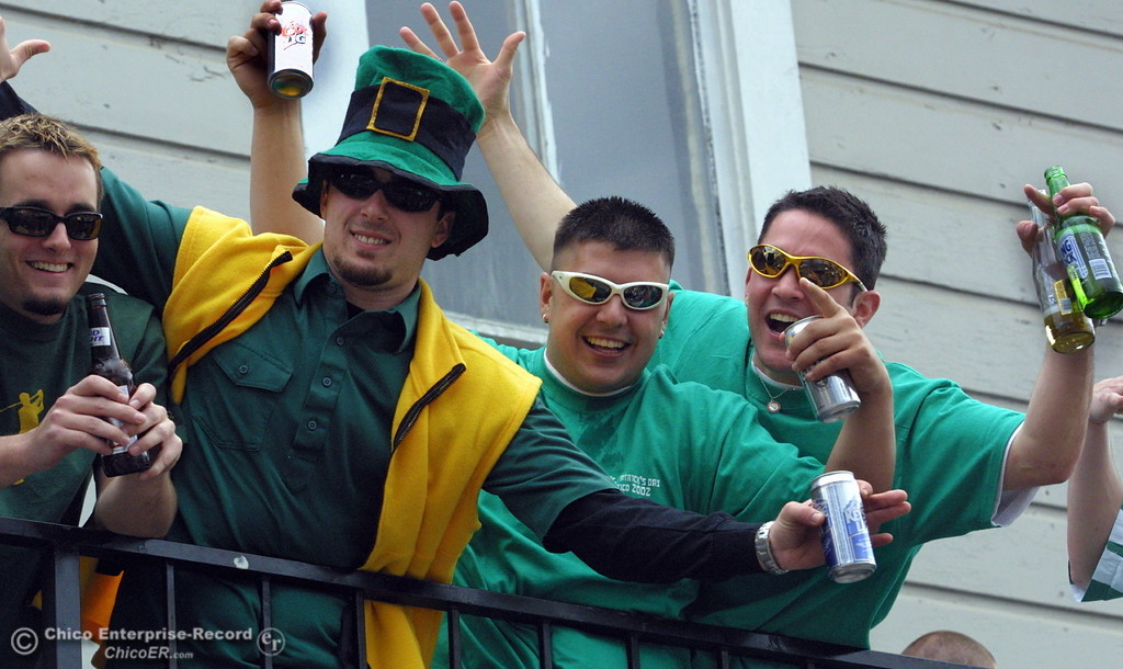 . party goers at the delta chi house on west 5th street for saint patricks day  ty  news 03/17/02