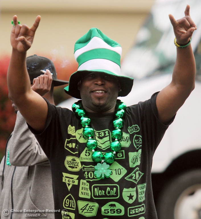 . James Benard, meets up with people who celebrate St. Patrick\'s Day festivities outside of Riley\'s bar in the south CSUC campus area and Downtown Chico Thursday , March 17, 2011 in Chico, Calif.