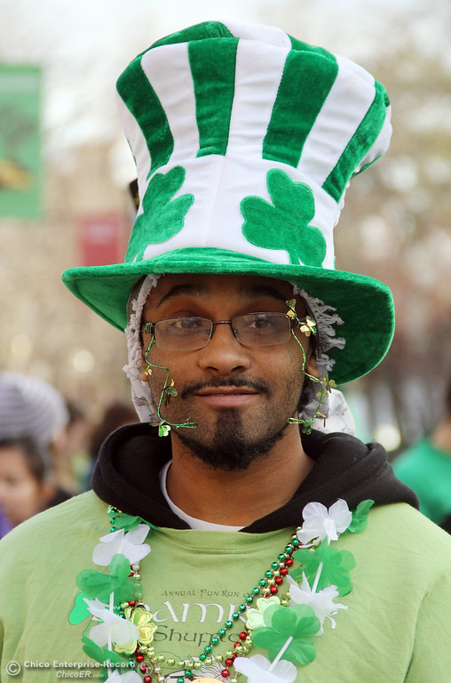 ". Canute ""Kindness\"" Davis gets ready for a run/walk in the 11th Annual Shamrock Shuffle for St. Patrick\'s Day festivities on the Chico State campus Saturday, March 17, 2012 in Chico, Calif. 
