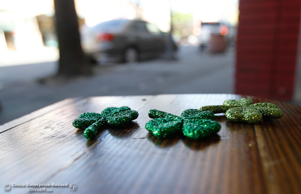 . Shamrocks left behind as people participate in St. Patrick Day celebrations March 17, 2016 in downtown Chico, Calif. (Emily Bertolino -- Enterprise-Record)