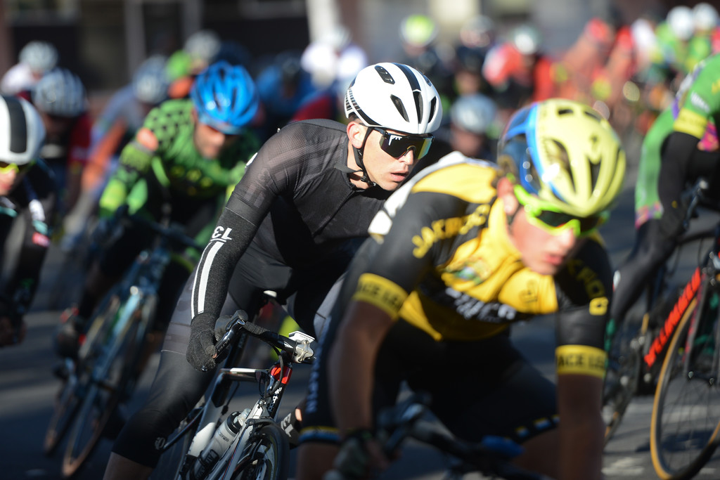 . Racers round a corner during the Chico Stage Races, March 18, 2018, in Chico, California. (Carin Dorghalli -- Enterprise-Record)