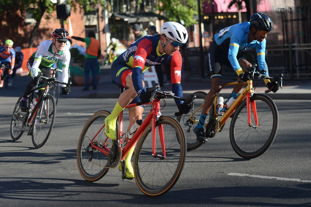 . The racers round a corner during the Chico Stage Races, March 18, 2018, in Chico, California. (Carin Dorghalli -- Enterprise-Record)