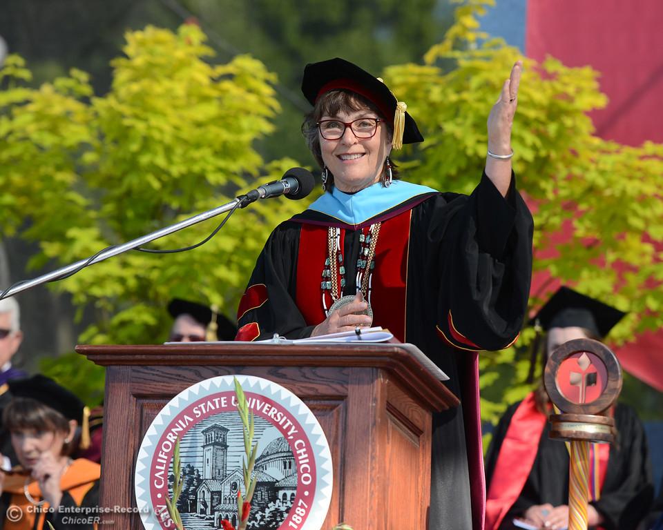 . Gayle Hutchingson speaks as Chico State graduates receive their diplomas Saturday, May 20, 2017, at University Stadium in Chico, California.  (Dan Reidel -- Enterprise-Record)