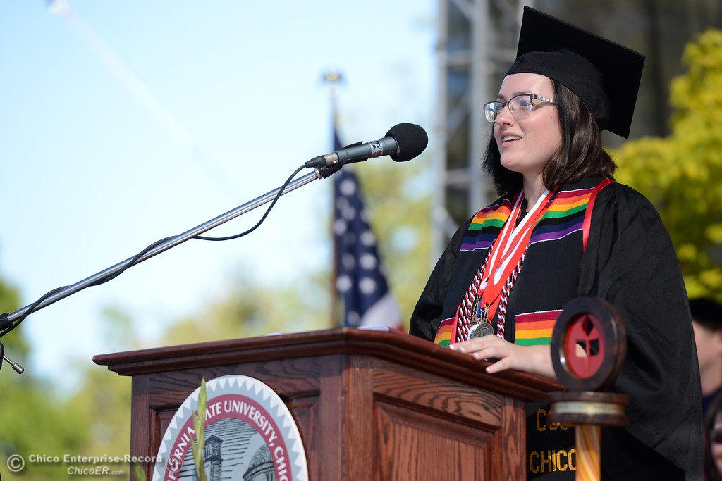 . Graduate Jessica Candela reflects on her time at Chico State as graduates receive their diplomas Saturday, May 20, 2017, at University Stadium in Chico, California.  (Dan Reidel -- Enterprise-Record)