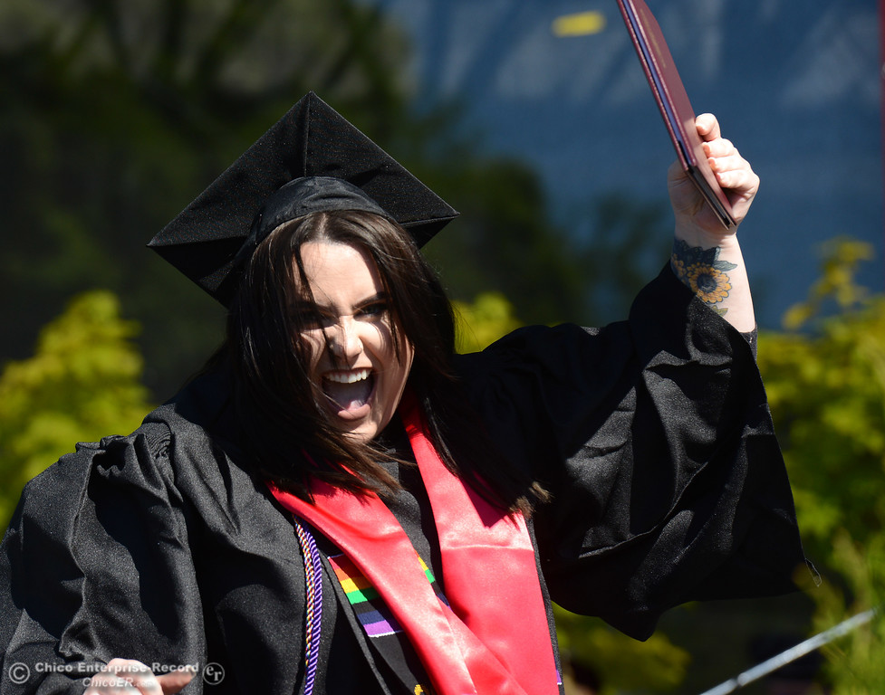 . Margaret van der Bie celebrates earning her diploma as Chico State seniors graduate Saturday, May 20, 2017, at University Stadium in Chico, California.  (Dan Reidel -- Enterprise-Record)