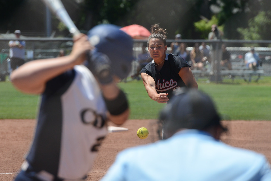 . Chico State\'s Haley Gilham pitches the ball during a NCAA West Regional championship game against California Baptist, May 12, 2018,  in Chico, California. (Carin Dorghalli -- Enterprise-Record)