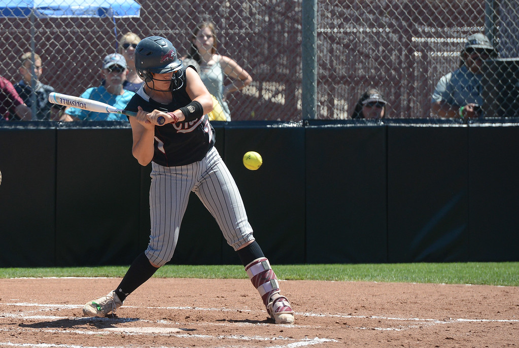 . Chico State\'s Karli Skowrup hits the ball during a NCAA West Regional championship game against California Baptist, May 12, 2018,  in Chico, California. (Carin Dorghalli -- Enterprise-Record)