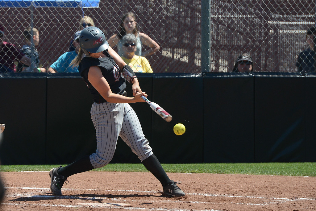 . Chico State\'s Bailey Akins hits the ball during a NCAA West Regional championship game against California Baptist, May 12, 2018,  in Chico, California. (Carin Dorghalli -- Enterprise-Record)