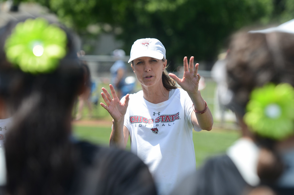 . Chico State coach Angel Shamblin talks to her team, May 12, 2018,  in Chico, California. (Carin Dorghalli -- Enterprise-Record)