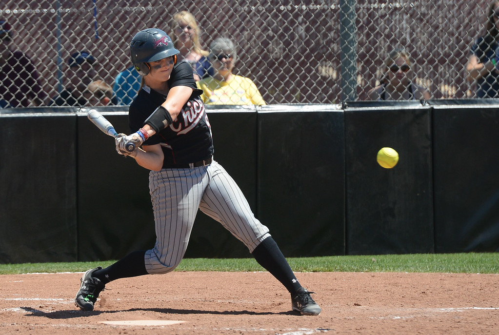 . Chico State\'s Claire Wayne hits the ball during a NCAA West Regional championship game against California Baptist, May 12, 2018,  in Chico, California. (Carin Dorghalli -- Enterprise-Record)
