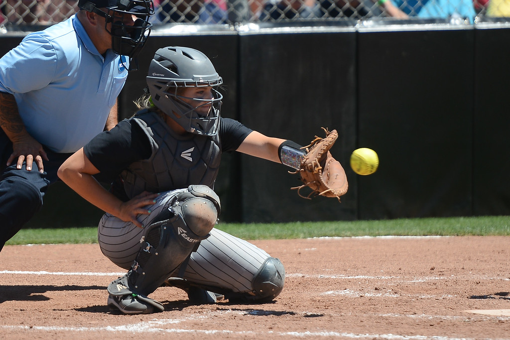 . Chico State\'s Claire Wayne catches the ball during a NCAA West Regional championship game against California Baptist, May 12, 2018,  in Chico, California. (Carin Dorghalli -- Enterprise-Record)