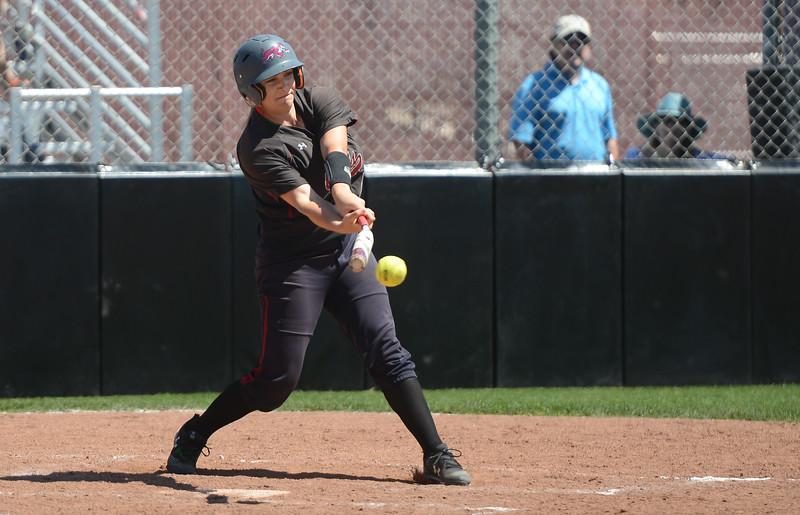 Chico State's Bailey Akins hits the ball during a home game against Sonoma State, April 14, 2018, in Chico, California. (Carin Dorghalli -- Enterprise-Record)