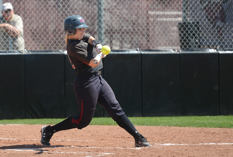 Chico State's Claire Wayne hits the ball during a home game against Sonoma State, April 14, 2018, in Chico, California. (Carin Dorghalli -- Enterprise-Record)