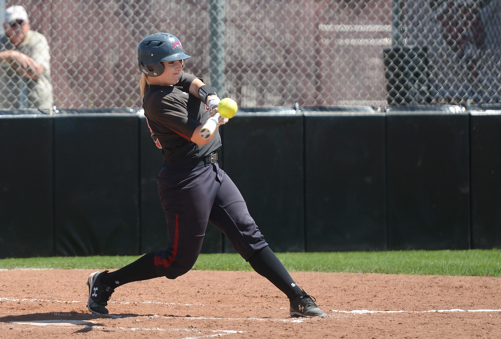 . Chico State\'s Claire Wayne hits the ball during a home game against Sonoma State, April 14, 2018, in Chico, California. (Carin Dorghalli -- Enterprise-Record)