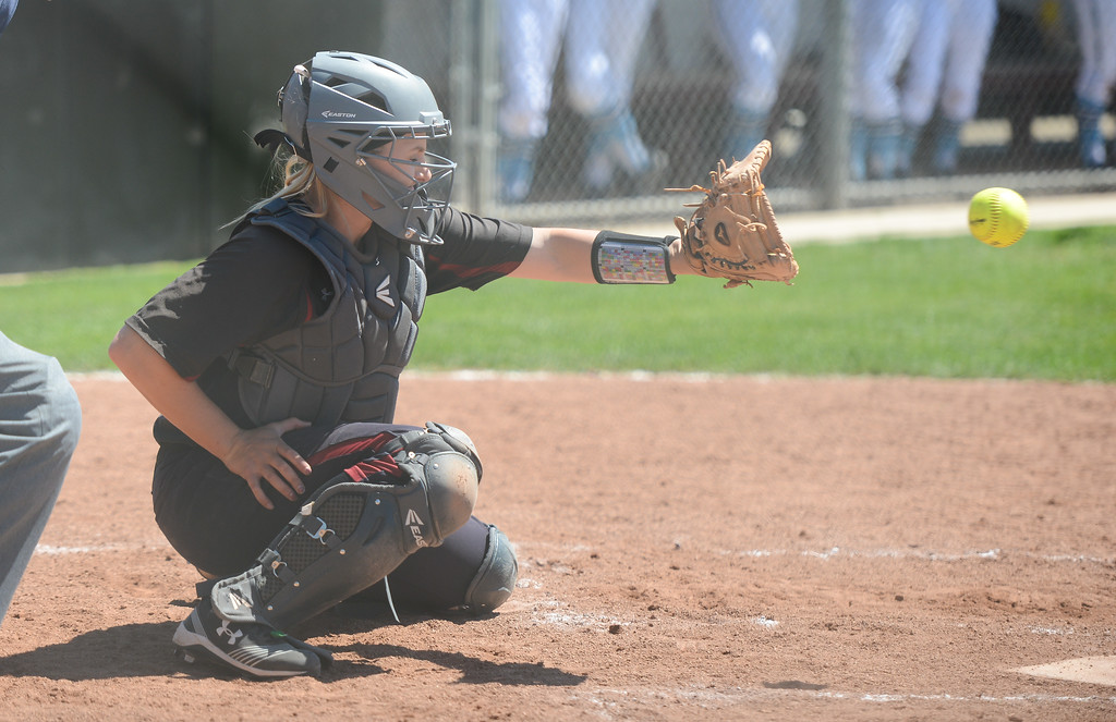. Chico State\'s Claire Wayne catches the ball during a home game against Sonoma State, April 14, 2018, in Chico, California. (Carin Dorghalli -- Enterprise-Record)