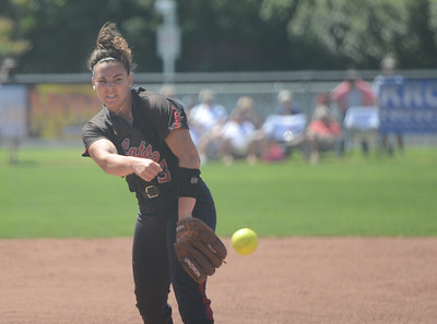 Chico State's Haley Gilham pitches the ball during a home game against Sonoma State, April 14, 2018, in Chico, California. (Carin Dorghalli -- Enterprise-Record)