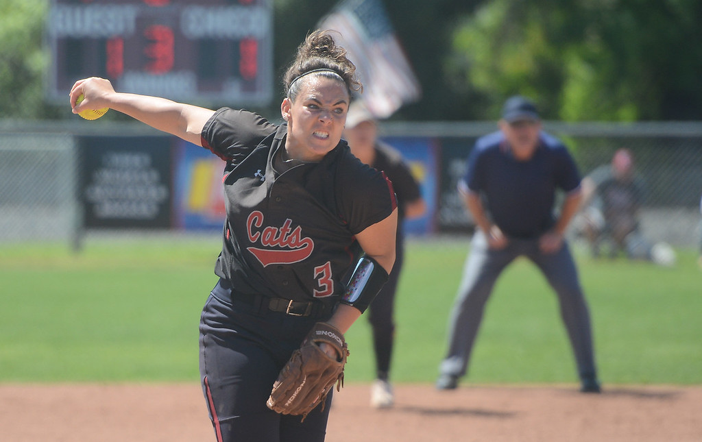 . Chico State\'s Haley Gilham pitches the ball during a home game against Sonoma State, April 14, 2018, in Chico, California. (Carin Dorghalli -- Enterprise-Record)