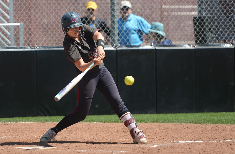 Chico State's Karli Skowrup hits the ball during a home game against Sonoma State, April 14, 2018, in Chico, California. (Carin Dorghalli -- Enterprise-Record)
