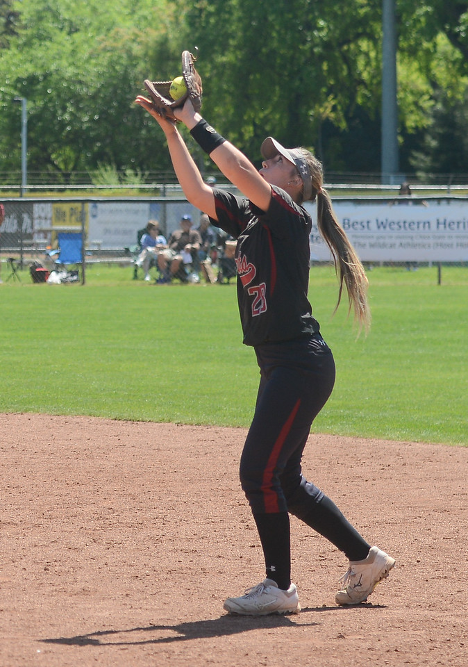 Chico State's Karli Skowrup catches the ball in the outfield during a home game against Sonoma State, April 14, 2018, in Chico, California. (Carin Dorghalli -- Enterprise-Record)