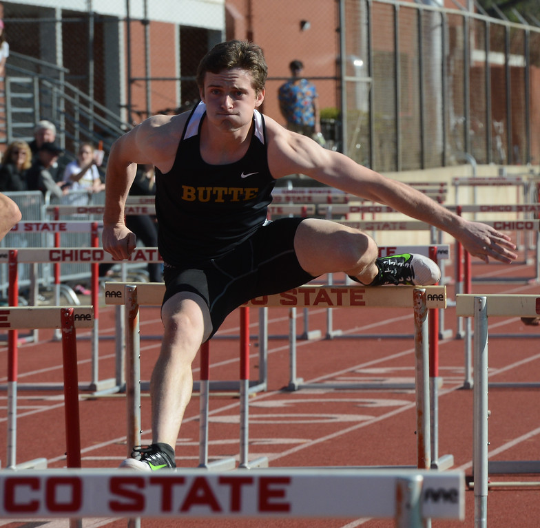 . Kevin Schillig hurdles, Saturday, March 10, 2018, in Chico, California. (Carin Dorghalli -- Enterprise-Record)
