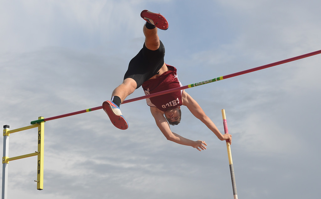 . Cristian Brady pole vaults, Saturday, March 10, 2018, in Chico, California. (Carin Dorghalli -- Enterprise-Record)