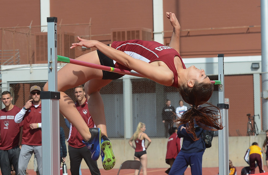 . Eva King high jumps, Saturday, March 10, 2018, in Chico, California. (Carin Dorghalli -- Enterprise-Record)