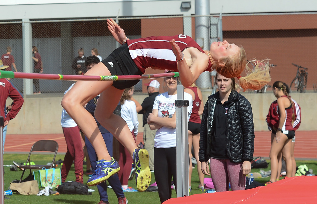 . Heather Pendleton high jumps, Saturday, March 10, 2018, in Chico, California. (Carin Dorghalli -- Enterprise-Record)