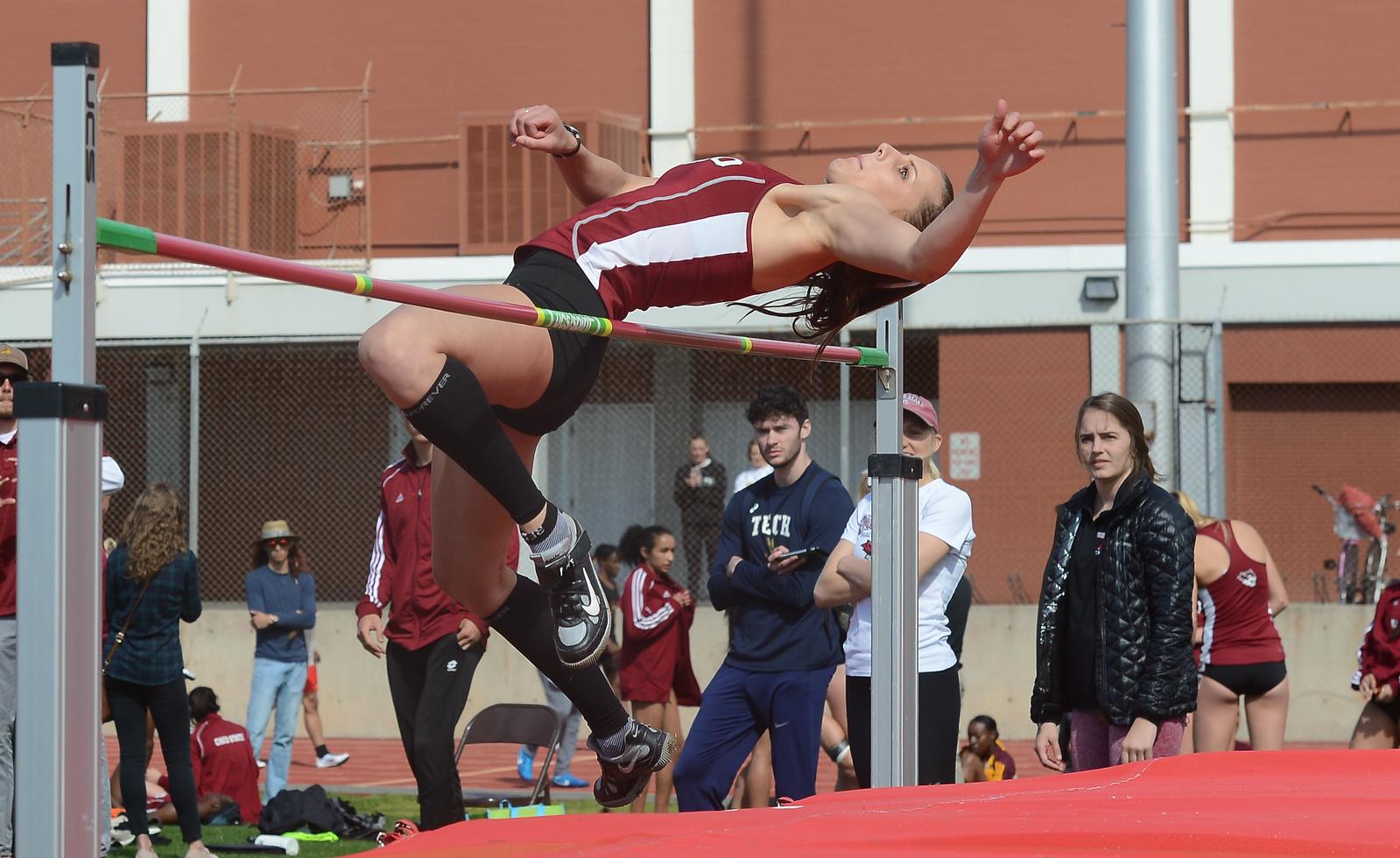 Nadia Torkman high jumps, Saturday, March 10, 2018, in Chico, California. (Carin Dorghalli -- Enterprise-Record)