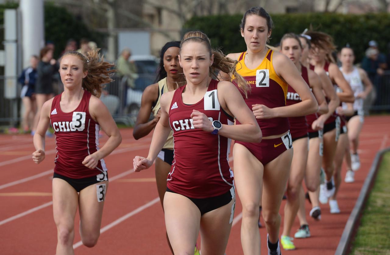 Alex Burkhart takes the lead in the 1500, Saturday, March 10, 2018, in Chico, California. (Carin Dorghalli -- Enterprise-Record)