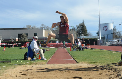 Alec Dronen long jumps, Saturday, March 10, 2018, in Chico, California. (Carin Dorghalli -- Enterprise-Record)