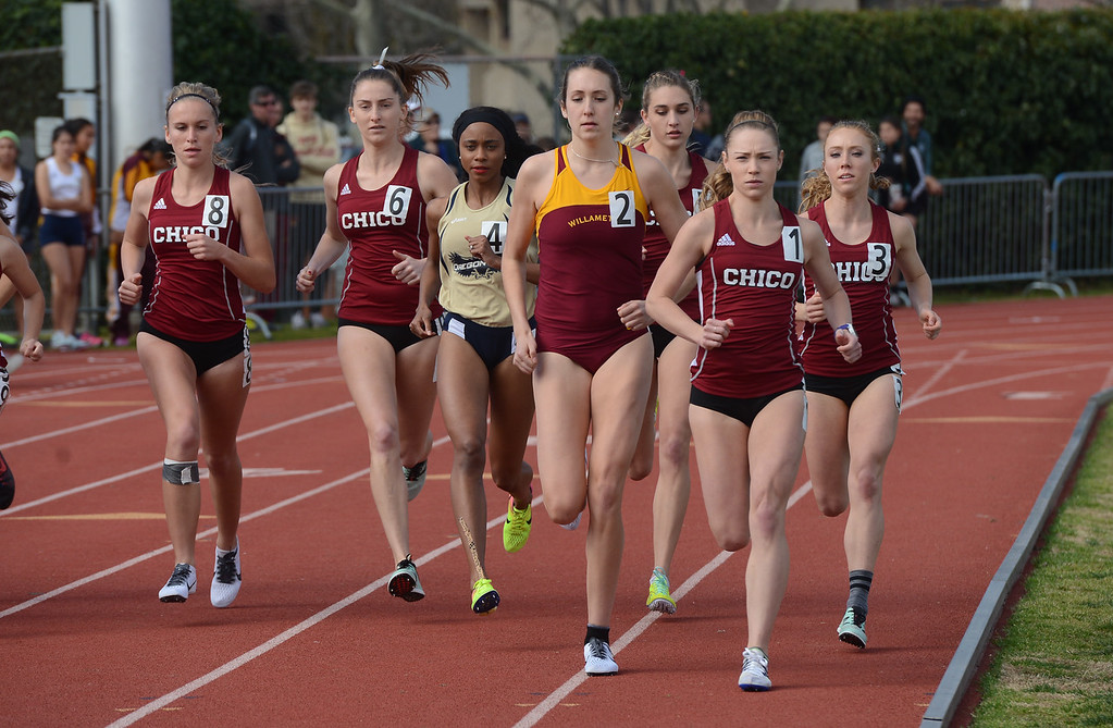 . Alex Burkhart takes the lead in the 1500, Saturday, March 10, 2018, in Chico, California. (Carin Dorghalli -- Enterprise-Record)