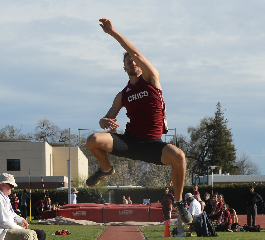 . Alec Dronen long jumps, Saturday, March 10, 2018, in Chico, California. (Carin Dorghalli -- Enterprise-Record)