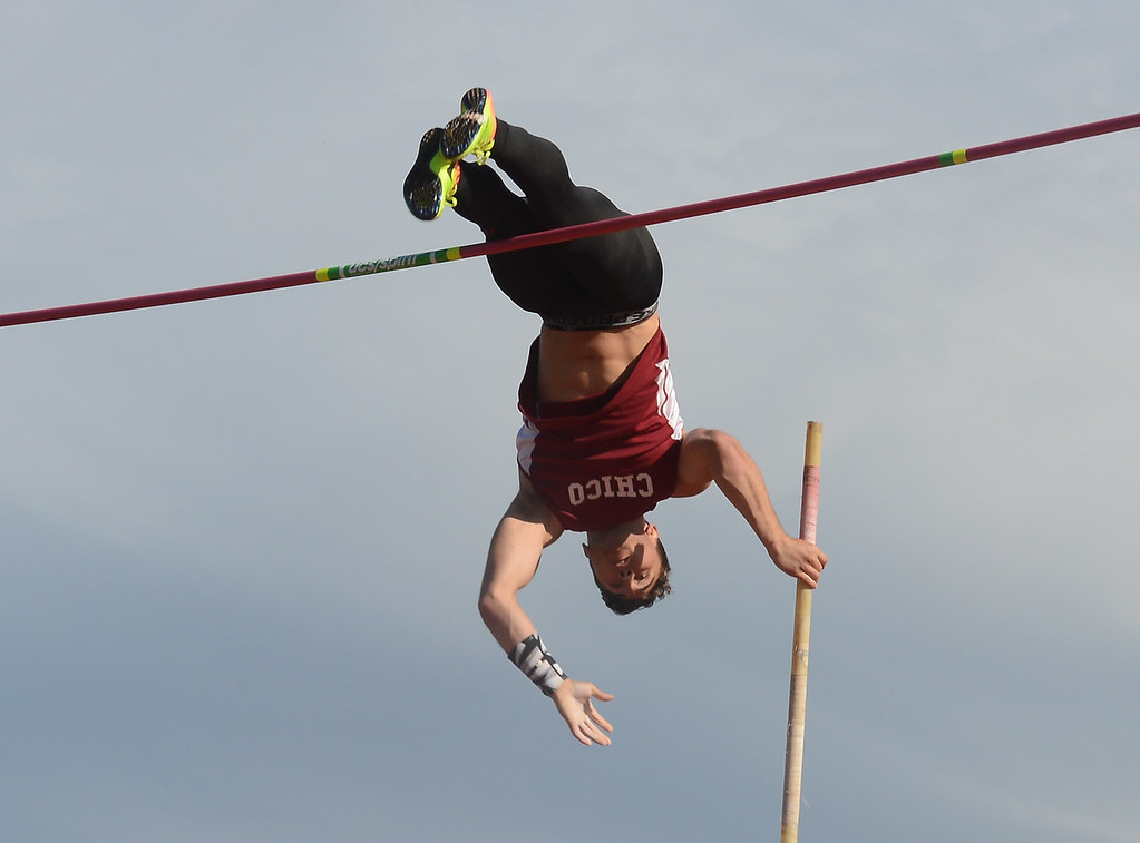 . Randall LeBlanc pole vaults, Saturday, March 10, 2018, in Chico, California. (Carin Dorghalli -- Enterprise-Record)