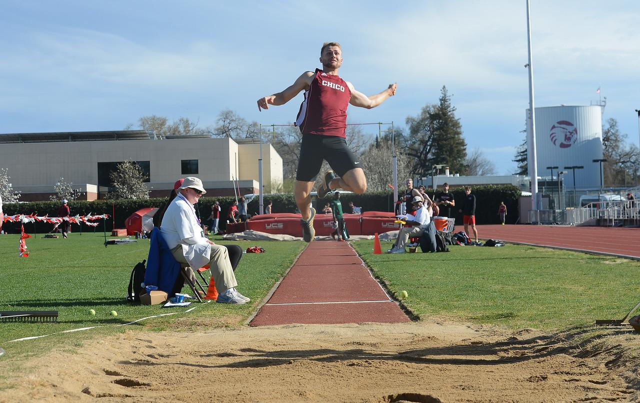 Alec Dronen long jumps, Saturday, March 10, 2018, in Chico, California. (Carin Dorghalli -- Enterprise-Record)
