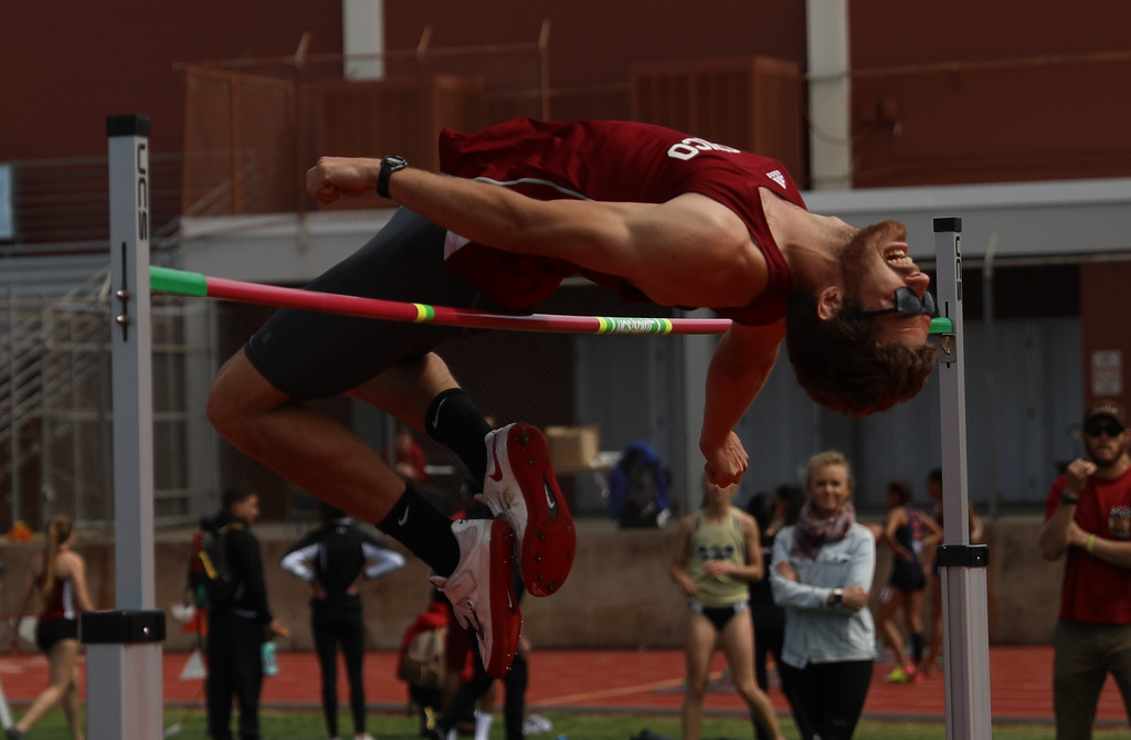 . Chico State\'s Lane Andrews high jumps during the Twilight Invite, April 7, 2018, in Chico, California. (Carin Dorghalli -- Enterprise-Record)