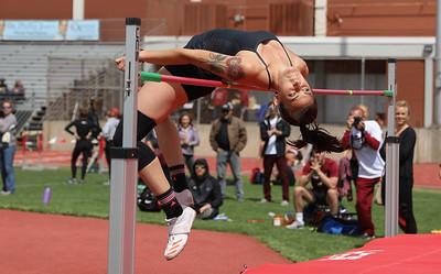 Chico State's Lauren Magneson high jumps during the Twilight Invite, April 7, 2018, in Chico, California. (Carin Dorghalli -- Enterprise-Record)