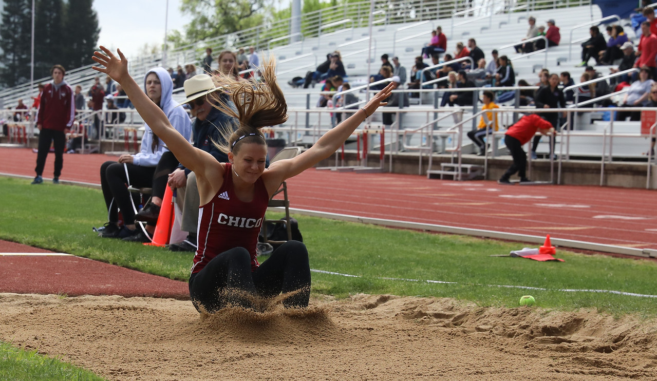 Chico State's Adelae Fredeen long jumps during the Twilight Invite, April 7, 2018, in Chico, California. (Carin Dorghalli -- Enterprise-Record)