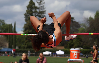 Butte College's Kaylee Shoemaker high jumps during the Twilight Invite, April 7, 2018, in Chico, California. (Carin Dorghalli -- Enterprise-Record)