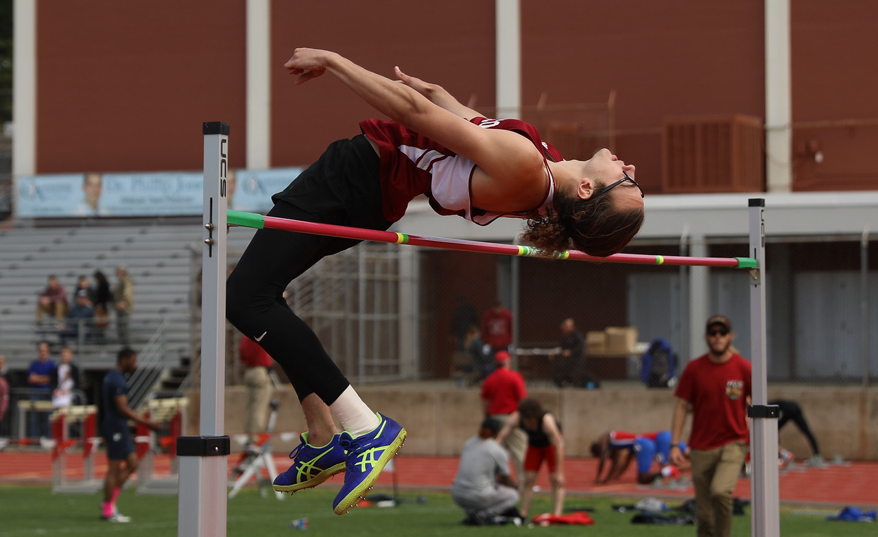 Chico State's Brandon Gentles high jumps during the Twilight Invite, April 7, 2018, in Chico, California. (Carin Dorghalli -- Enterprise-Record)