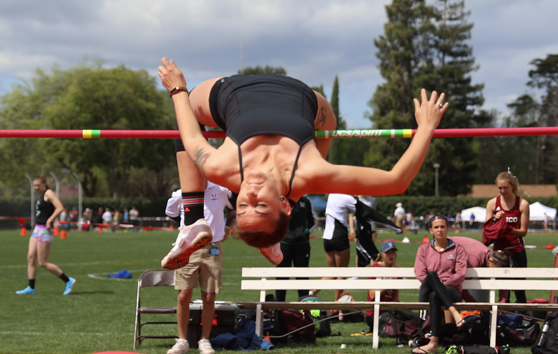 Chico State's Lauren Magneson high jumps during the Twilight Invite, April 7, 2018, in Chico, California. (Carin Dorghalli -- Enterprise-Record)
