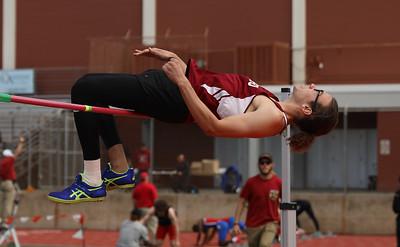 Chico State's Brandon Gentles high jumps during the Twilight Invite, April 7, 2018, in Chico, California. (Carin Dorghalli -- Enterprise-Record)
