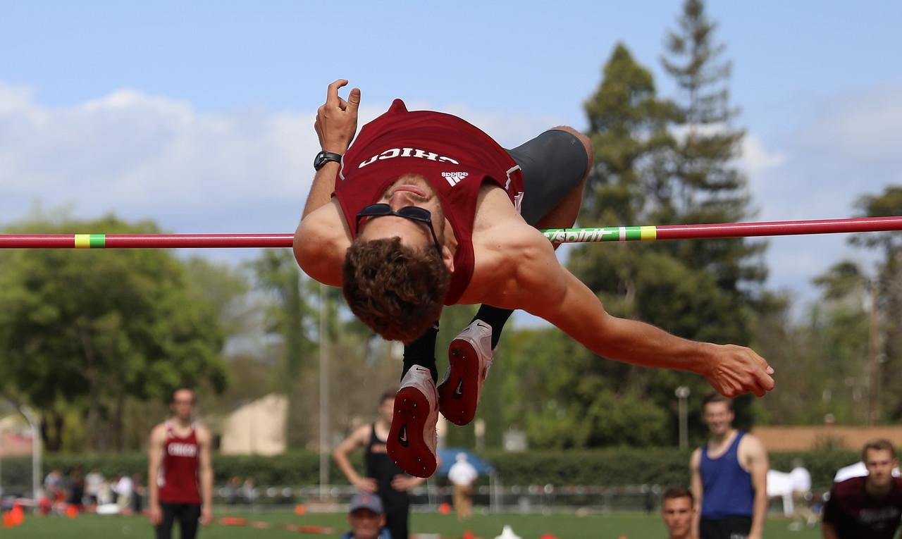 Chico State's Lane Andrews high jumps during the Twilight Invite, April 7, 2018, in Chico, California. (Carin Dorghalli -- Enterprise-Record)