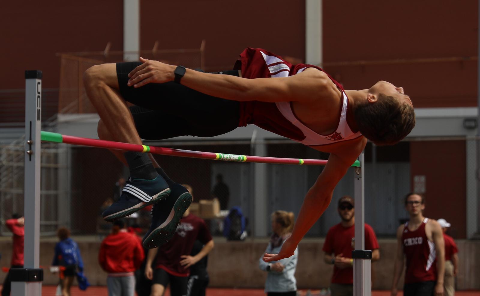 Chico State's Kyle Cox high jumps during the Twilight Invite, April 7, 2018, in Chico, California. (Carin Dorghalli -- Enterprise-Record)