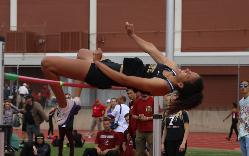. Butte College\'s Kaylee Shoemaker high jumps during the Twilight Invite, April 7, 2018, in Chico, California. (Carin Dorghalli -- Enterprise-Record)