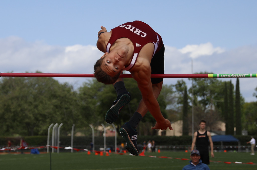. Chico State\'s Kyle Cox high jumps during the Twilight Invite, April 8, 2018, in Chico, California. (Carin Dorghalli -- Enterprise-Record)