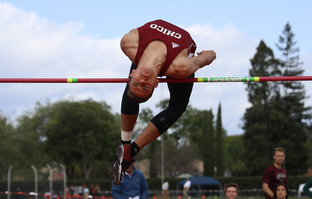 . Chico State\'s Tyler Arroyo high jumps during the Twilight Invite, April 7, 2018, in Chico, California. (Carin Dorghalli -- Enterprise-Record)