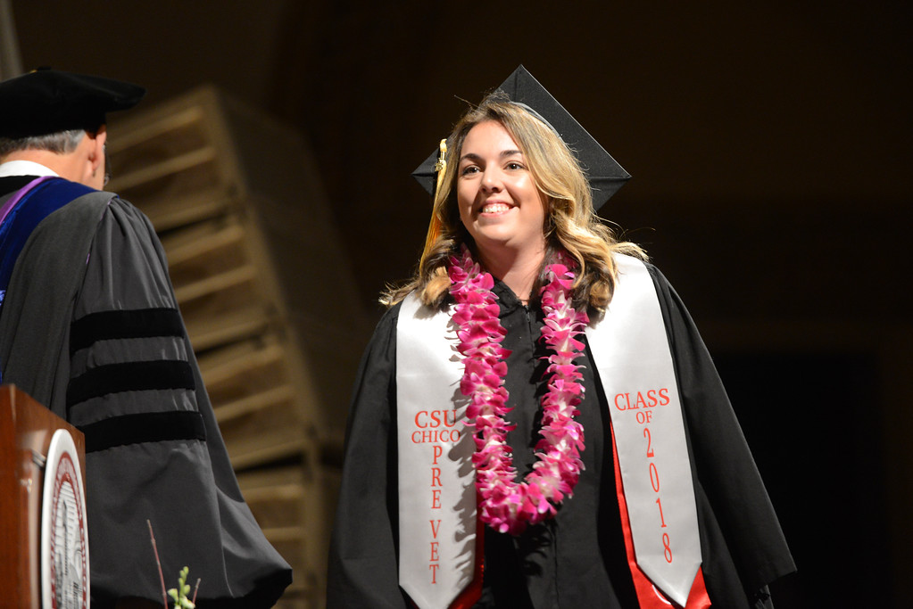 . Grace Helena Frost graduates during the College of Agriculture Commencement Ceremony, May 18, 2018,  in Chico, California. (Carin Dorghalli -- Enterprise-Record)