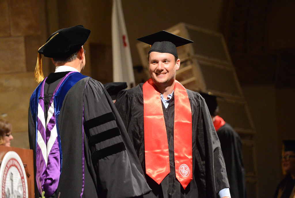 . Jack Amaro graduates during the College of Agriculture Commencement Ceremony, May 18, 2018,  in Chico, California. (Carin Dorghalli -- Enterprise-Record)