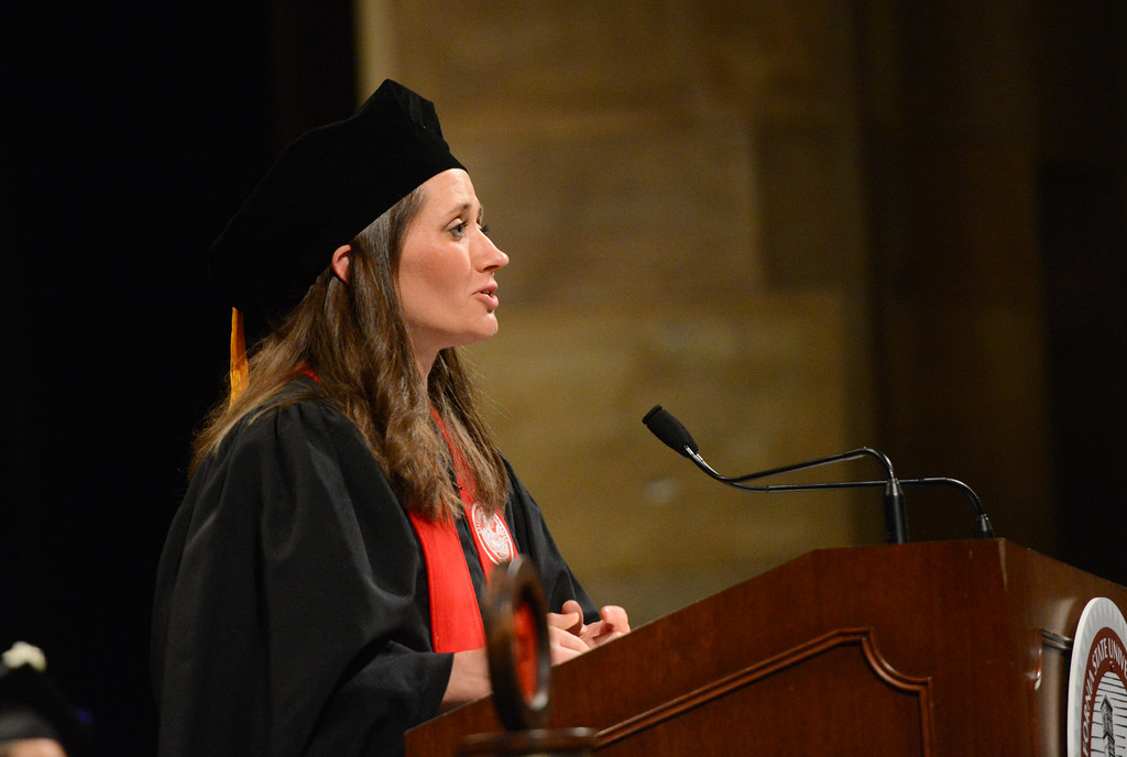 . Angela M. Mayfield speaks during the College of Agriculture Commencement Ceremony, May 18, 2018,  in Chico, California. (Carin Dorghalli -- Enterprise-Record)