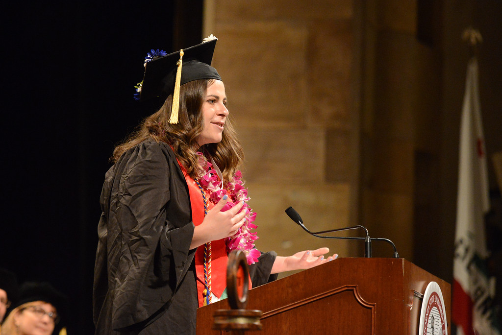 . Holly Hockett gives the student reflections during the College of Agriculture Commencement Ceremony, May 18, 2018,  in Chico, California. (Carin Dorghalli -- Enterprise-Record)